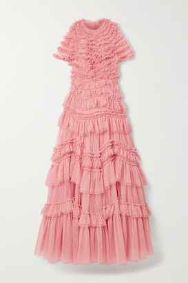 Needle & Thread Wild Rose Tiered Ruffled Tulle Gown - Pink