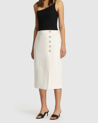 FRIEND of AUDREY - Women's White Pencil skirts - Astor Linen Buttoned Skirt - Size One Size, 6 at The Iconic