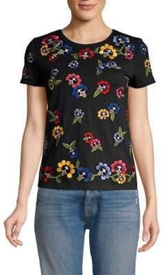 Alice + Olivia Rainbow Floral& Face Embroidered T-Shirt