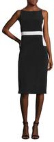 Kimora Lee Simmons Silk Leather Back Sheath Dress