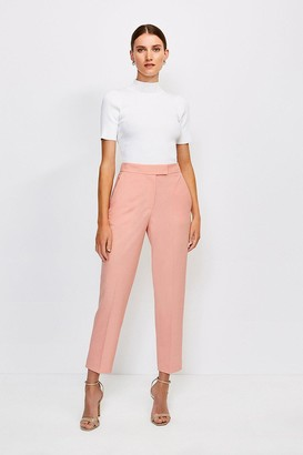 Karen Millen Polished Stretch Wool Blend Tapered Trouser