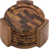 Lipper Acacia End Grain 7 Piece Coaster Set