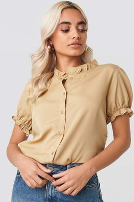 NA-KD Ruffle Detail Button Blouse Beige