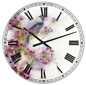 "Design Art Designart Cherry Blossom Days Large Cottage Wall Clock - 38"" x 38"" x 1"""