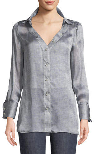 Giorgio Armani Long-Sleeve Button-Front Mulberry Silk Blouse