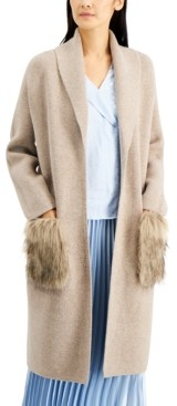 Alfani Faux-Fur Pocket Open Cardigan, Created for Macy's