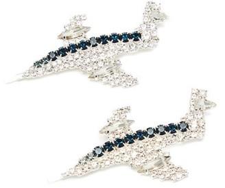 Art School Aeroplane Crystal-embellished Hair Slides - Blue