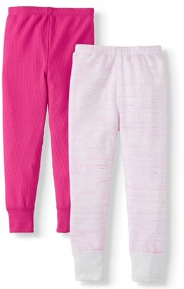 Fruit of the Loom Core Mini Waffle Thermal Super Soft Pants, 2pk (Toddler Girls)