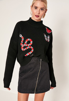 Missguided Black Embroidered Snake Knit Sweater