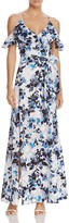 Eliza J Cold-Shoulder Flutter Sleeve Floral Maxi Dress