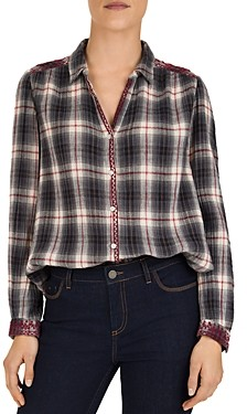 Gerard Darel Moon Embroidered Plaid Cotton Shirt