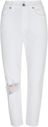 Frame Le Beau Ripped Crop Straight Leg Boyfriend Jeans