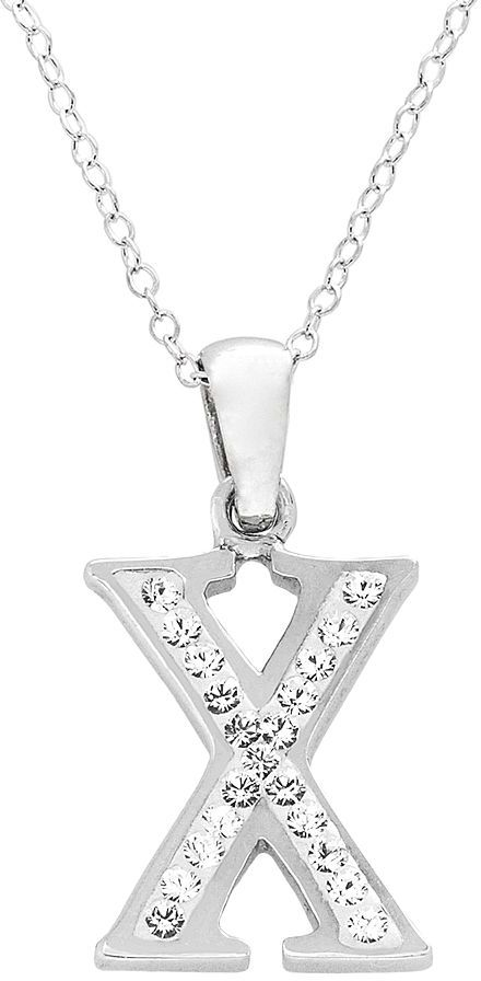 Swarovski Sterling Silver Crystal Initial Pendant - Made with Elements