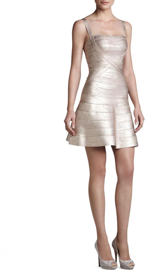 Herve Leger Shimmery Flared Bandage Dress
