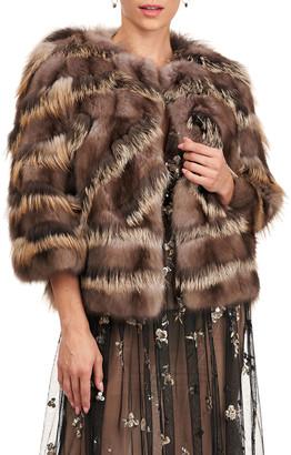 Burnett NY Sable And Fox Fur Intarsia Jacket