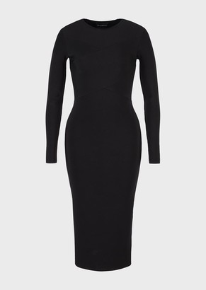 Emporio Armani Knitted Midi Dress With Cross-Over Detail