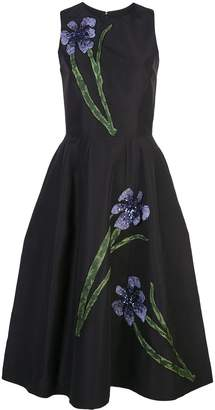 Carolina Herrera Floral Embroidery Silk Dress