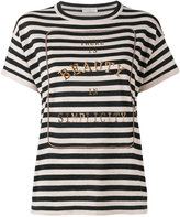 Brunello Cucinelli embroidered stripe T-shirt - women - Cashmere/Wool - XS