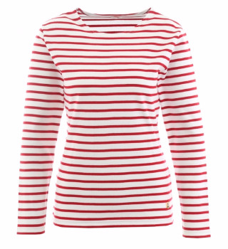 Armor Lux 100% Cotton Long Sleeve Breton Shirt - Red Stripe - 3 - Red/White