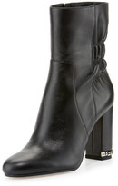 MICHAEL Michael Kors Dolores Ruched Leather Bootie, Black