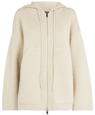 Theory Oversized Wool-Cashmere Zip-Up Hoodie