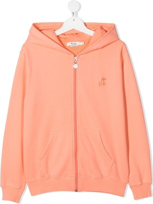 Bonpoint TEEN logo embroidered zip hoodie
