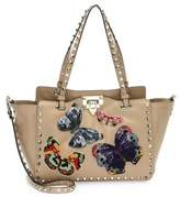 Valentino Small Rockstud Butterfly Leather Tote