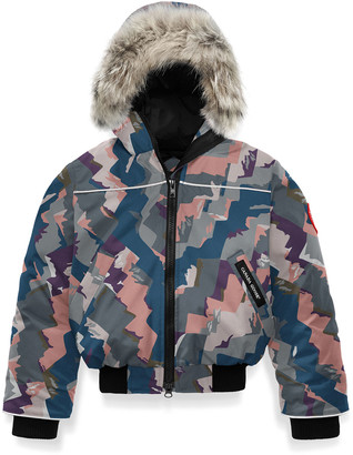 Canada Goose Kid's Grizzly Bomber Jacket w/ Removable Fur Trim, Size 2-7