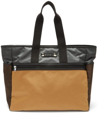 Marni Leather-trimmed Technical-canvas Tote Bag - Beige Multi