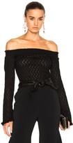 Erdem Bella Lace Knit Off The Shoulder Sweater in Black.