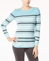 Charter Club Colorblocked Striped Button-Detail Sweater, Created for Macy's
