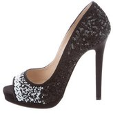 Oscar de la Renta Sequined Peep-Toe Pumps