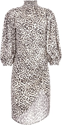 Alice + Olivia Jerilyn Leopard Mock Neck Dress