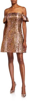 Aidan Mattox Puff Off-Shoulder Metallic Cocktail Dress