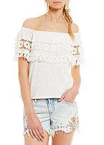 Chelsea & Violet Tasseled Floral Crochet-Trimmed Off-the-Shoulder Top