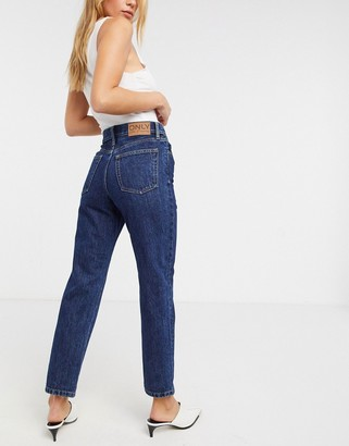 Only Fine straight leg jeans with high waist in blue