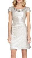 Tahari Ruched Foil Knit Sheath Dress