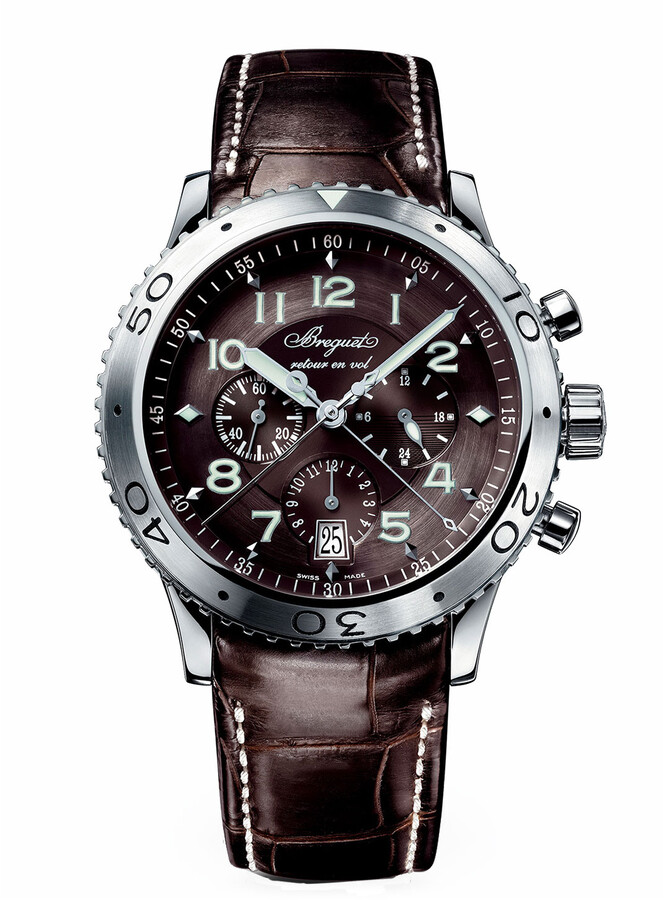 Breguet 42mm Type XX1 Automatic Chronograph Watch w/ Alligator Strap, Brown