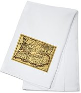 Portugal - Panoramic Map (100% Cotton Absorbent Kitchen Towel)