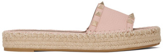 Valentino Pink Garavani Rockstud Double Slide Espadrilles