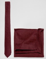 Asos Tie And Pocket Square Pack In Textured Burgundy