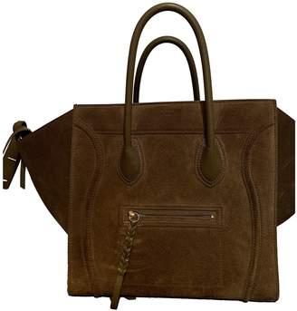 Celine Luggage Phantom Khaki Suede Handbags
