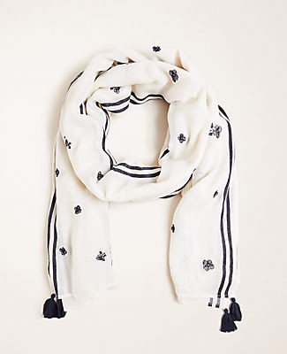 Ann Taylor Embroidered Floral Scarf