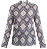Emilia Wickstead Rhonda high-neck tapestry-print crepe top