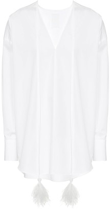 Valentino Feather-trimmed cotton blouse