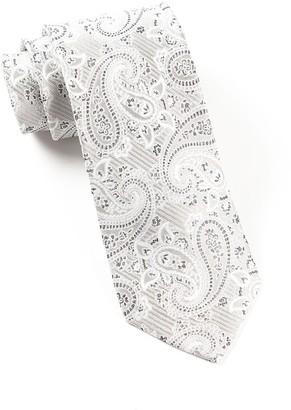 Tie Bar Waltzing Paisley Silver Tie