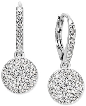 Eliot Danori Rose Gold-Tone Pave Disc Drop Earrings, Created for Macy's