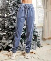Suzanne Betro Weekend Women's Casual Pants 101GREYISH - Gray-Blue Pocket Cuffed Corduroy Joggers - Women & Plus