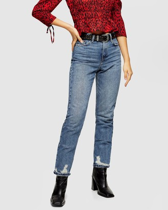 Topshop Petite PETITE Mid Blue Rip Hem Mom Jeans