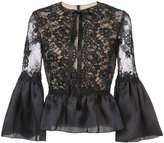 Marchesa frilled peplum lace blouse